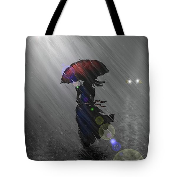 Tote Bag featuring the digital art Rainy Walk by Darren Cannell