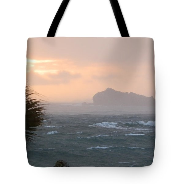 Rainy Xmas Sunrise Tote Bag