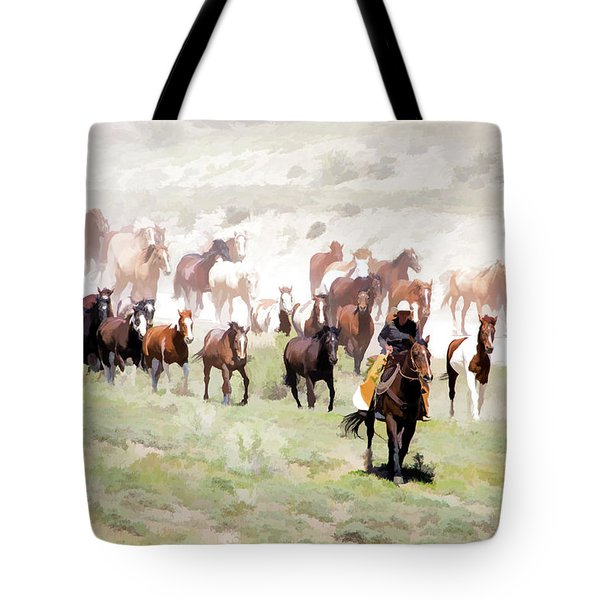 Tote Bag featuring the digital art Raising Dust On The Great American Horse Drive In Maybell Colorado by Nadja Rider