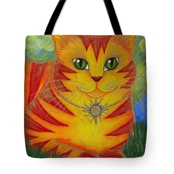 Rajah Golden Sun Cat Tote Bag