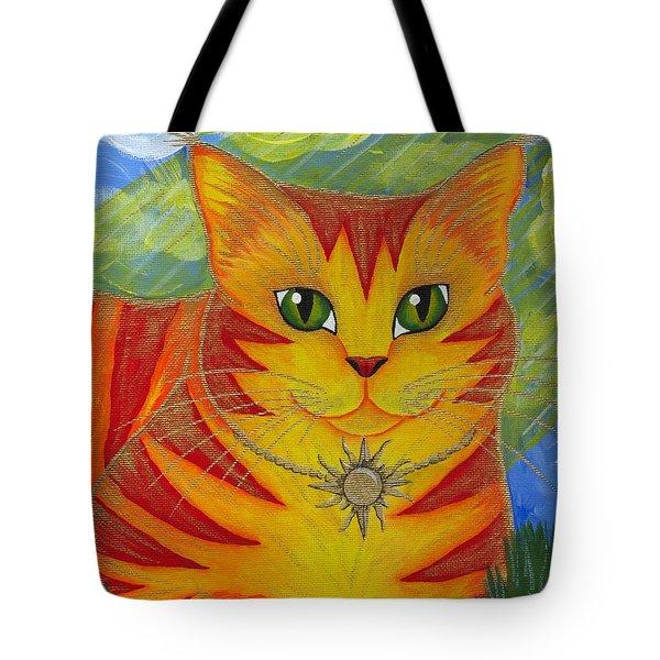Rajah Golden Sun Cat Tote Bag