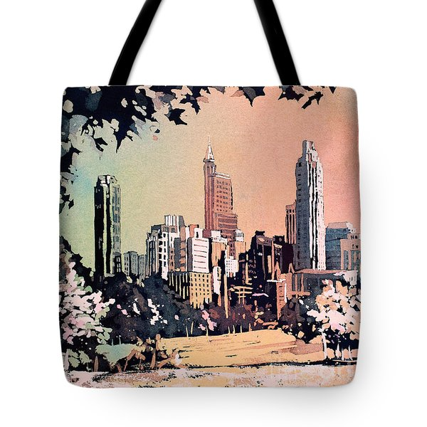 Tote Bag featuring the painting Raleigh Skyline V by Ryan Fox