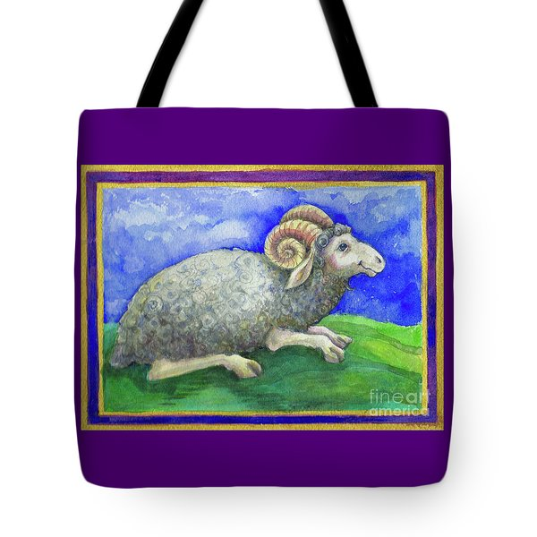 Tote Bag featuring the painting Ram by Lora Serra