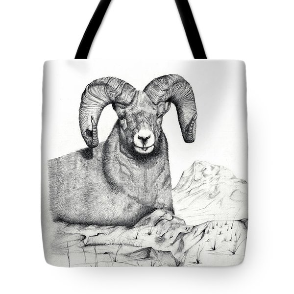 Tote Bag featuring the drawing Ram by Mayhem Mediums