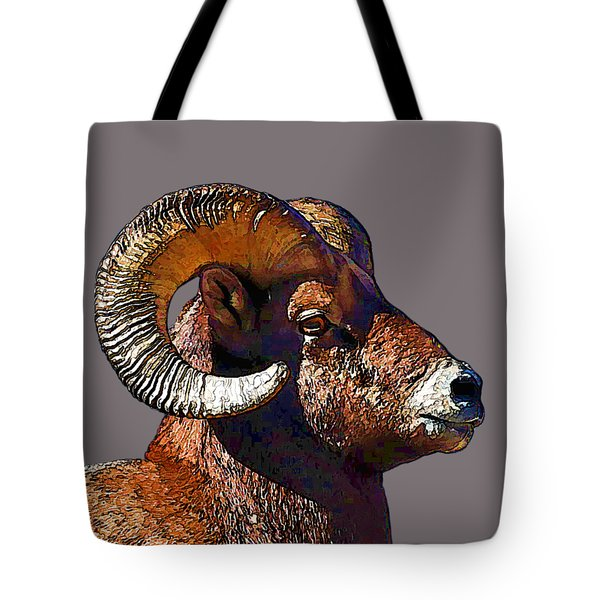 Tote Bag featuring the digital art  Ram Portrait - Rocky Mountain Bighorn Sheep By Olena Art by OLena Art Brand
