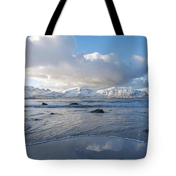 Ramberg Beach, Lofoten Nordland Tote Bag