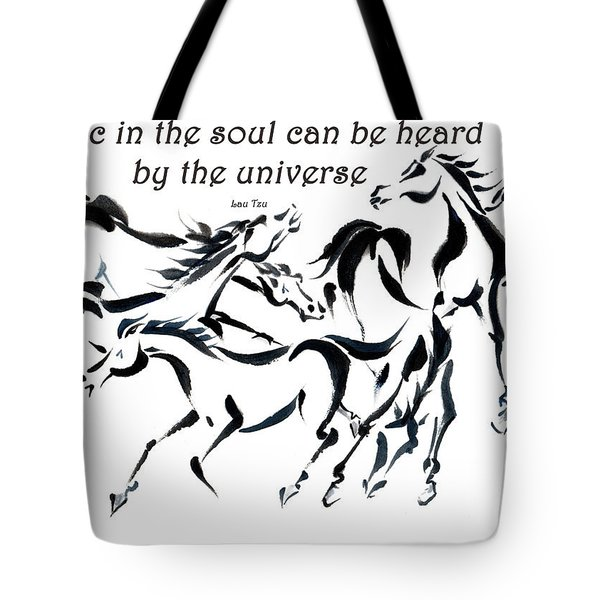 Tote Bag featuring the painting Rambunctious With Lao Tzu Quote I by Bill Searle