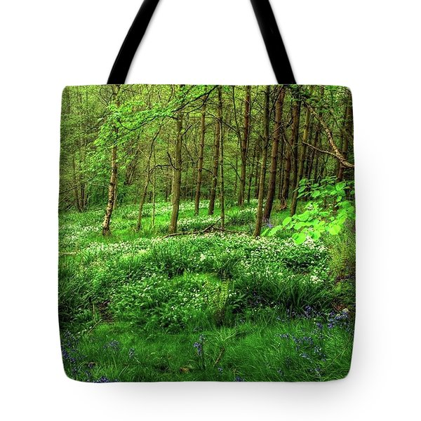 Ramsons And Bluebells, Bentley Woods Tote Bag by John Edwards