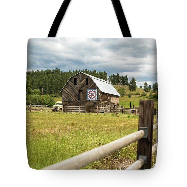 Ranch Fence And Barn With Hex Sign Tote Bag