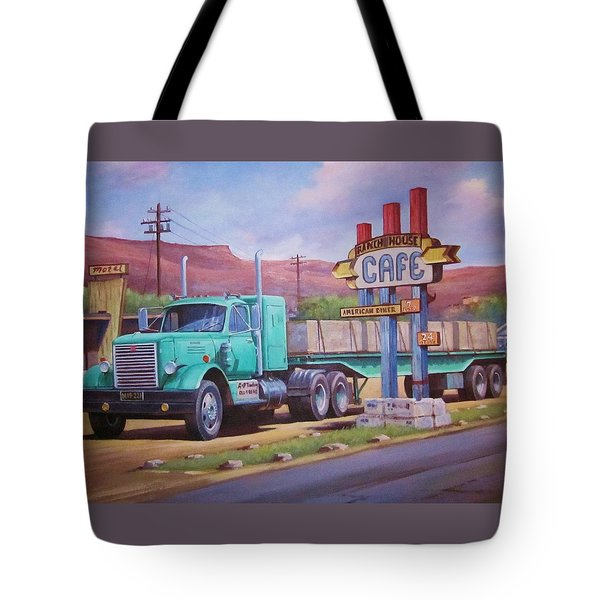 Tote Bag featuring the painting Ranch House Truckstop. by Mike Jeffries
