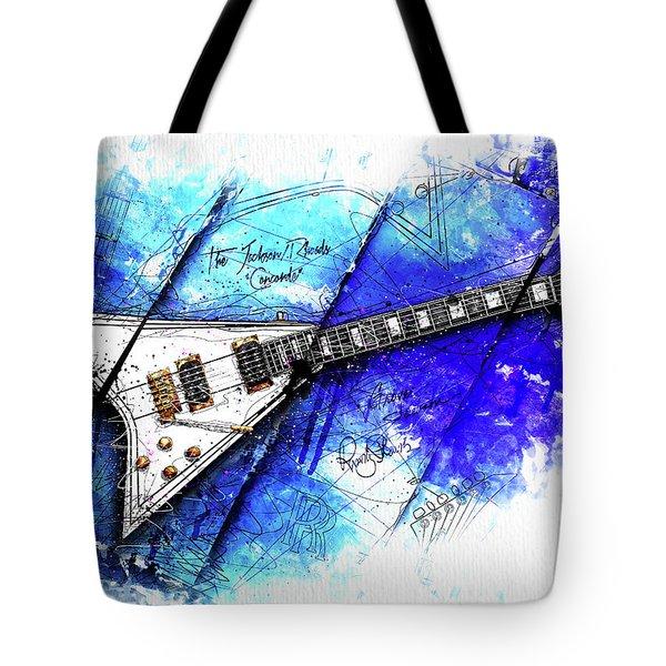 Randy's Guitar On Blue Tote Bag