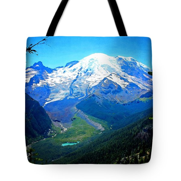 Ranier And Little Tahoma Tote Bag by Timothy Bulone