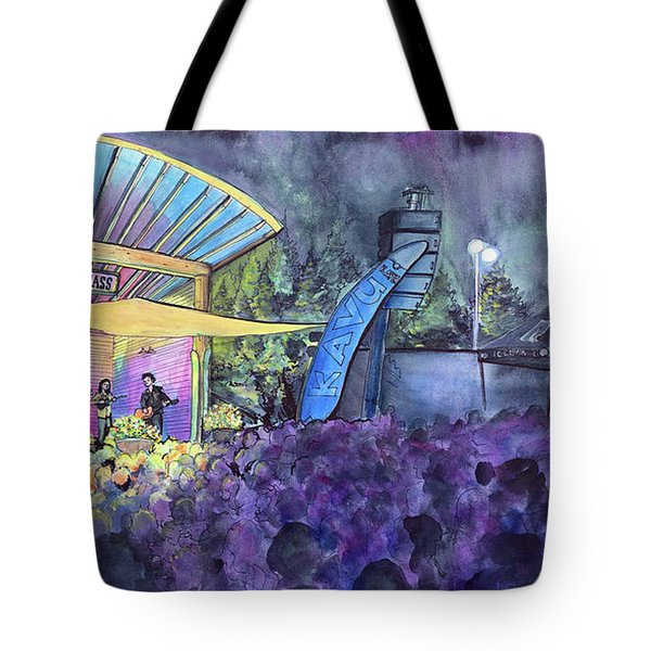 Rapid Grass Playing Clear Creek Rapidgrass Bluegrass Festival Tote Bag