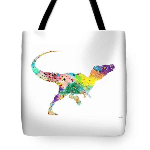 Raptor 2 Dinosaur Watercolor Tote Bag