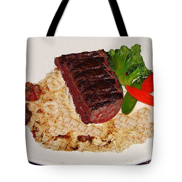 Tote Bag featuring the photograph Rare Steak Dinner by Merton Allen