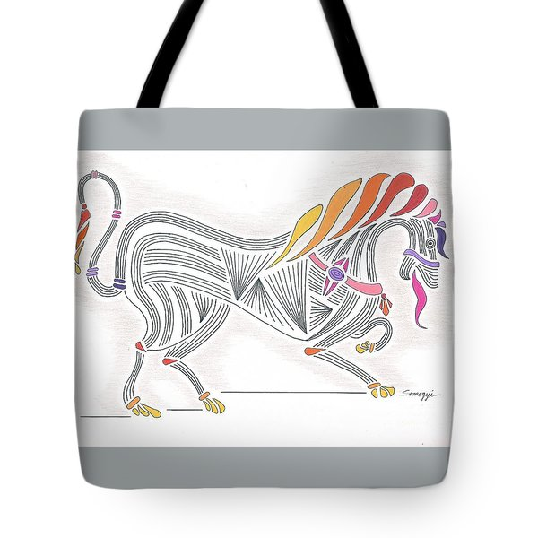 Rarin' To Go -- Stylized Medieval Prancing Horse W/ Rainbow Mane Tote Bag