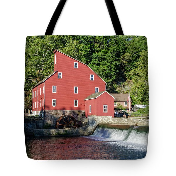 Rariton River And The Red Mill - Clinton New Jersey Tote Bag by Bill Cannon