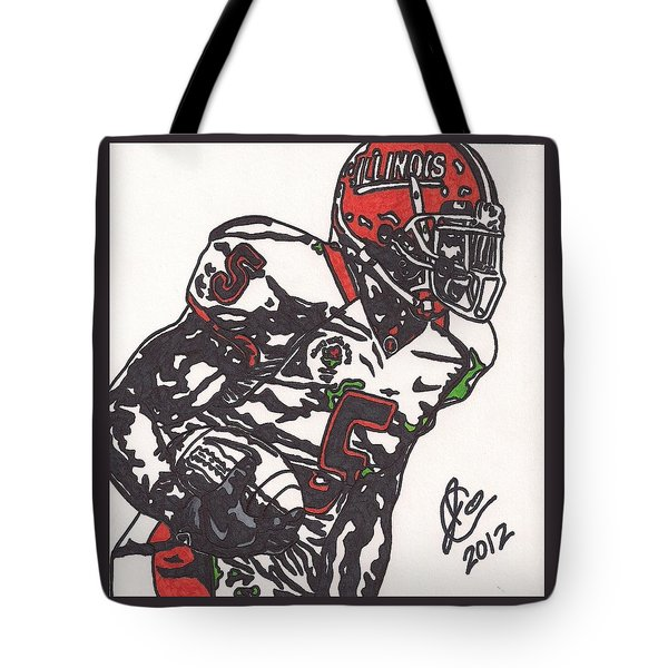Tote Bag featuring the drawing Rashard Mendenhall 1 by Jeremiah Colley
