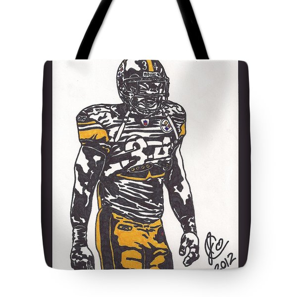 Tote Bag featuring the drawing Rashard Mendenhall 2 by Jeremiah Colley