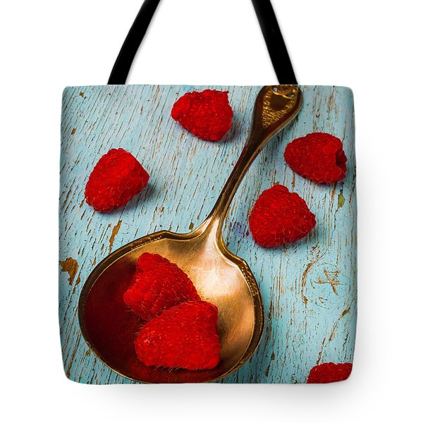Raspberries With Antique Spoon Tote Bag by Garry Gay