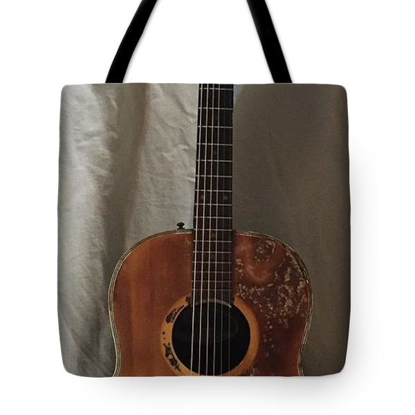 Tote Bag featuring the mixed media Rat Guitar by Steve  Hester