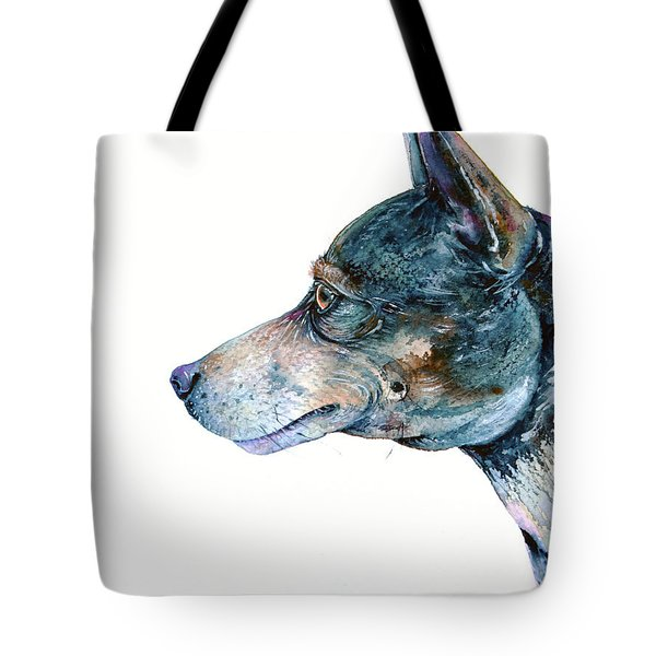 Tote Bag featuring the painting Rat Terrier by Zaira Dzhaubaeva