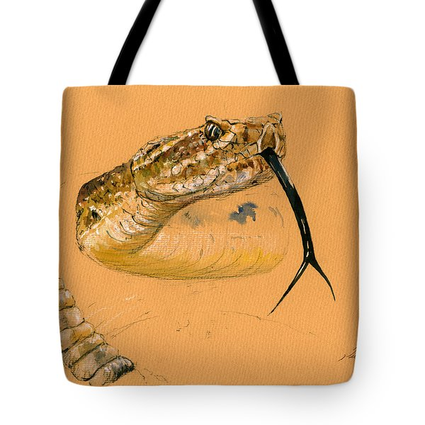 Rattlesnake Painting Tote Bag by Juan  Bosco