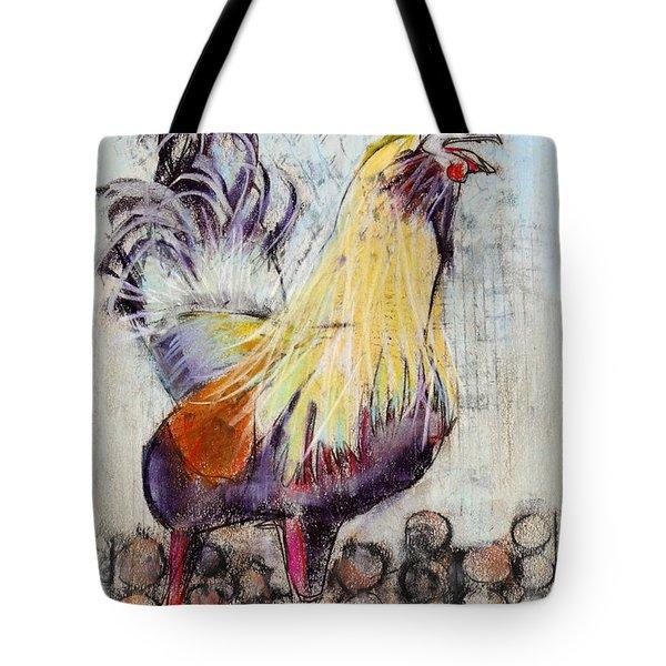 Raucous Rooster Tote Bag by Julie Maas