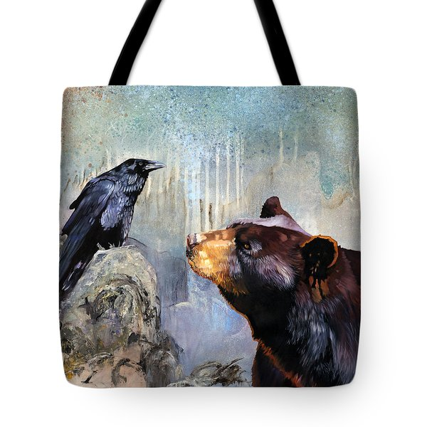 Raven And The Bear Tote Bag