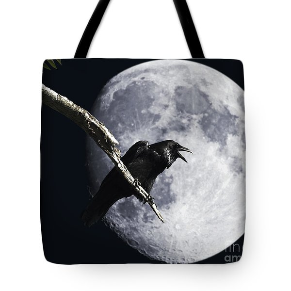 Raven Barking At The Moon Tote Bag