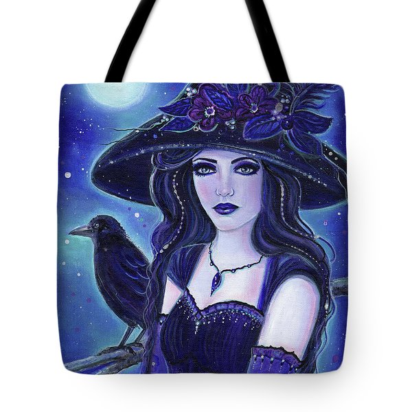 Raven Halloween Witch Tote Bag