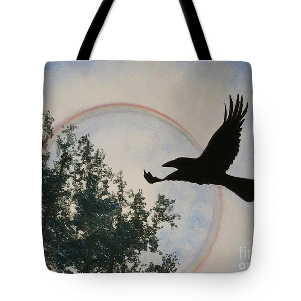 Tote Bag featuring the painting Raven Holds The Sun by Stanza Widen