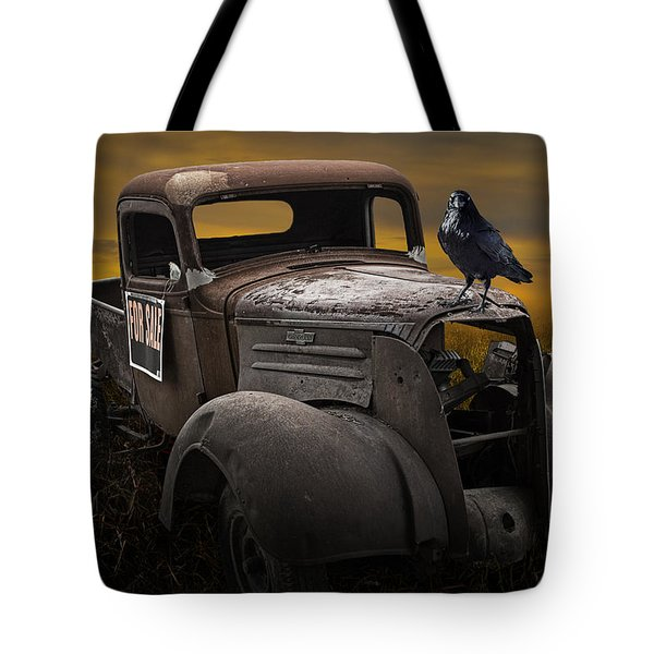 Raven Hood Ornament On Old Vintage Chevy Pickup Truck Tote Bag