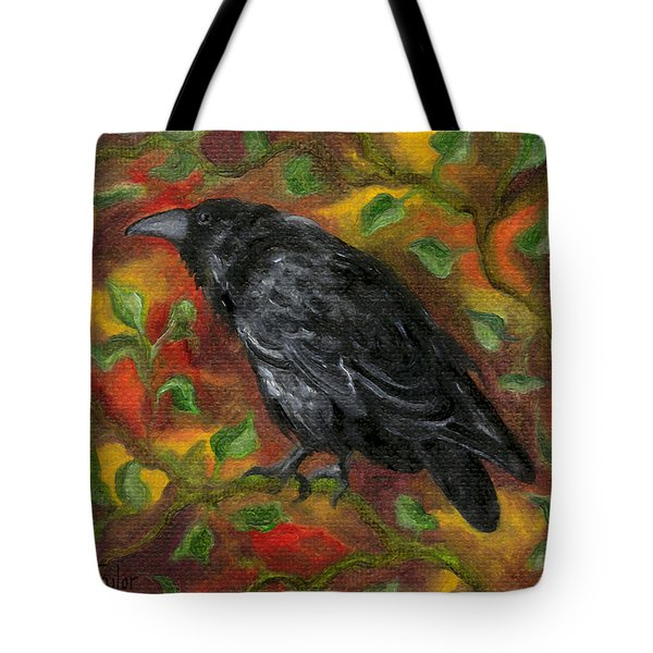 Raven In Autumn Tote Bag