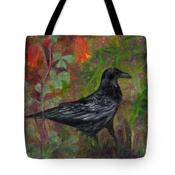 Raven In Columbine Tote Bag