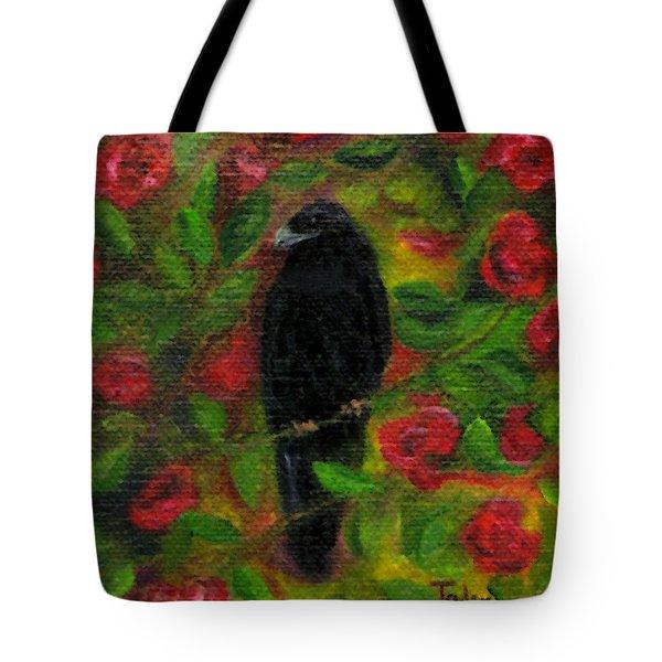 Raven In Roses Tote Bag