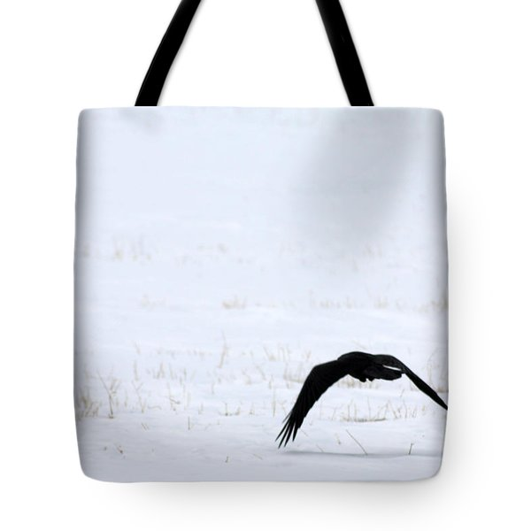 Raven In The Snow Tote Bag