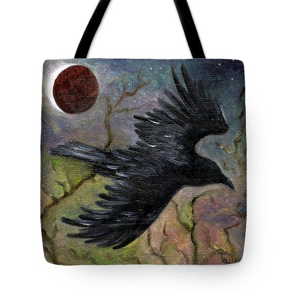 Raven In Twilight Tote Bag