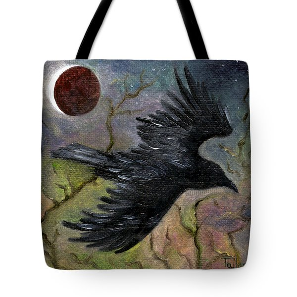 Raven In Twilight Tote Bag