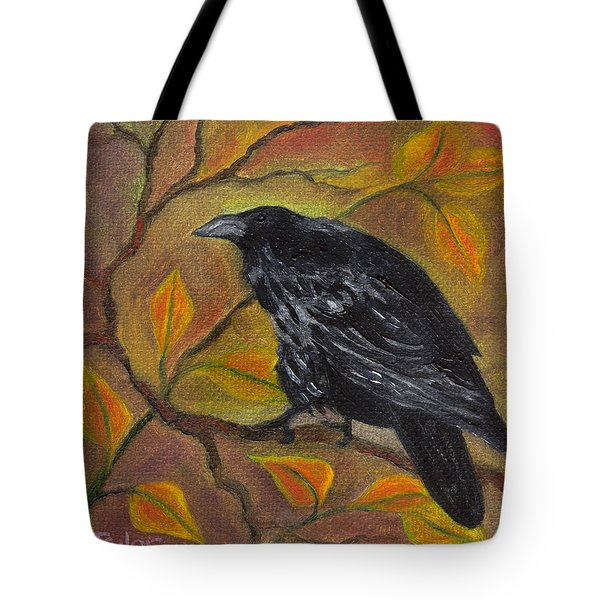 Raven On A Limb Tote Bag