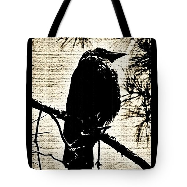 Raven On The Lookout Tote Bag