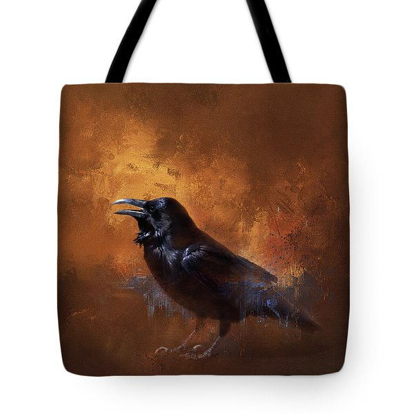 Tote Bag featuring the painting Raven by Theresa Tahara