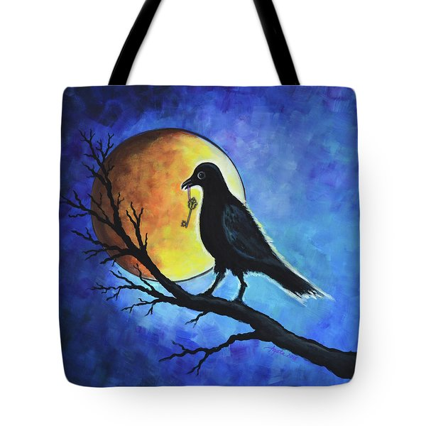 Raven With Key Tote Bag