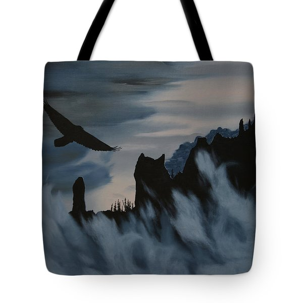 Raven Wolf Head Tote Bag