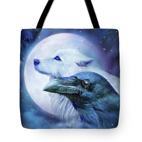 Tote Bag featuring the mixed media Raven Wolf Moon by Carol Cavalaris