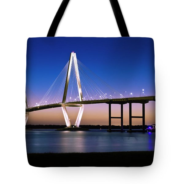Tote Bag featuring the photograph Ravenel Bridge 2 by Bill Barber