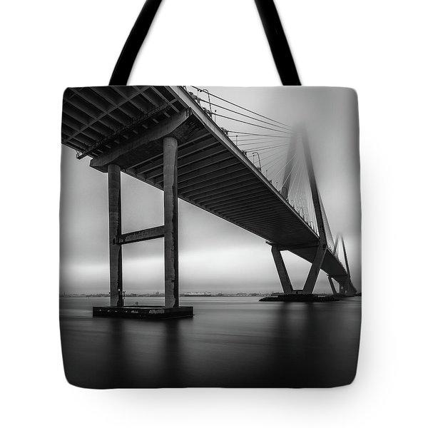 Ravenel Bridge November Fog Tote Bag