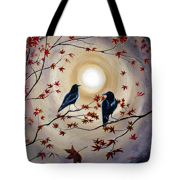 Ravens In Autumn Tote Bag by Laura Iverson