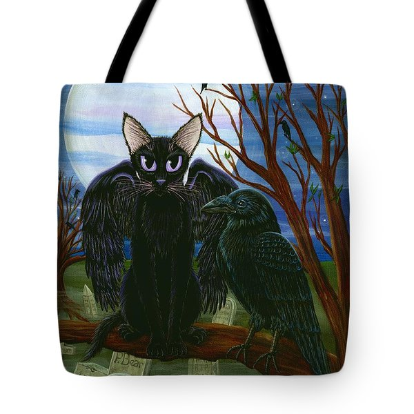 Raven's Moon Black Cat Crow Tote Bag