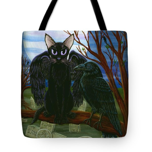 Tote Bag featuring the painting Raven's Moon Black Cat Crow by Carrie Hawks